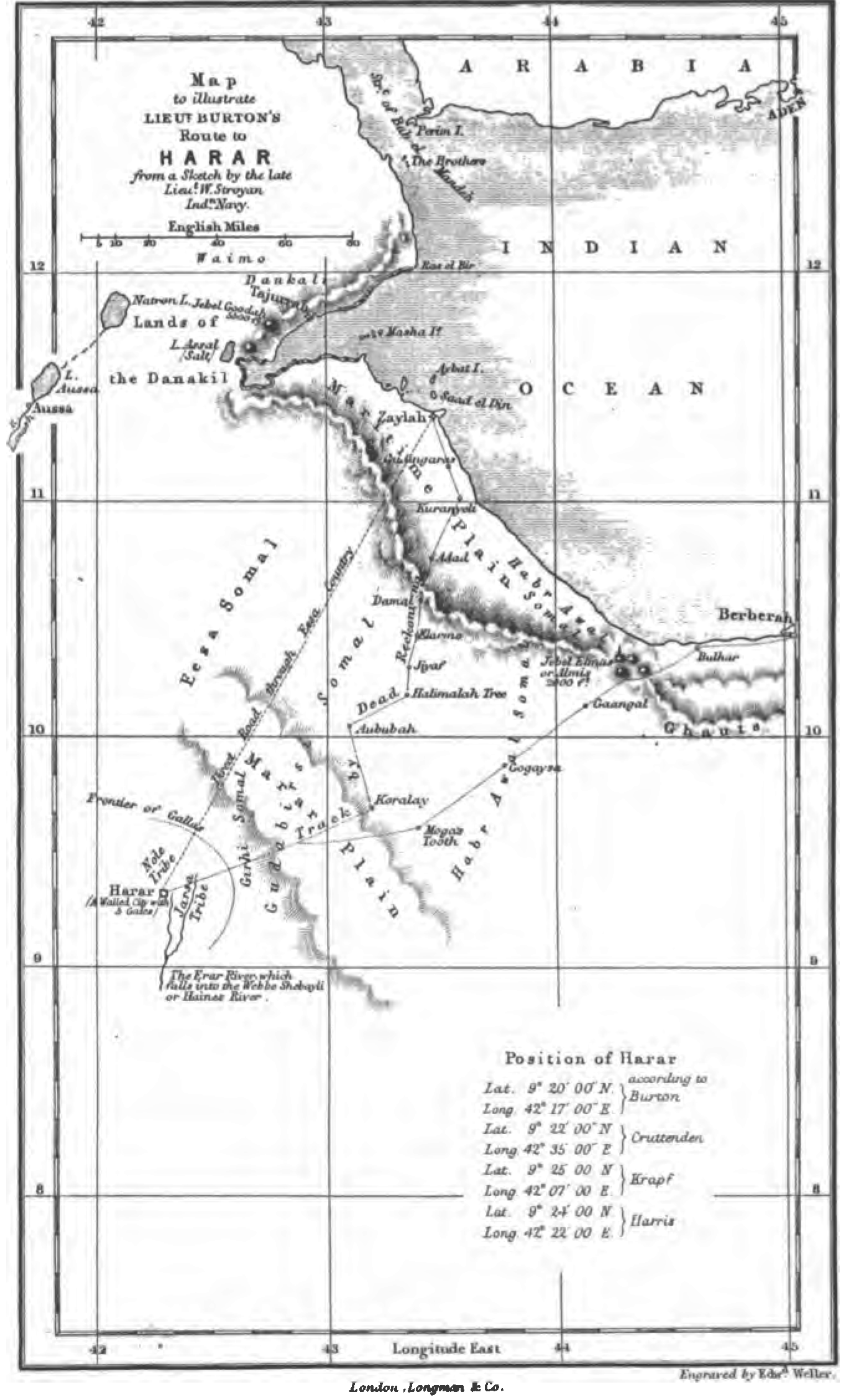 First footsteps in east africa by richard burton map to illustrate lieut burtons route to harar from a sketch by the late lieut w stroyan indian navy buycottarizona